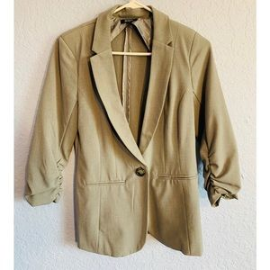 Gray Blazer with Button and Pockets
